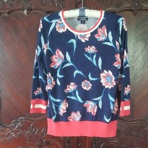 NWT Land's End floral sweater navy red sz M 10-12